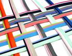 1 Meter dreifarbiges Paspelband/Biesenband - Trio - Mint/Blau