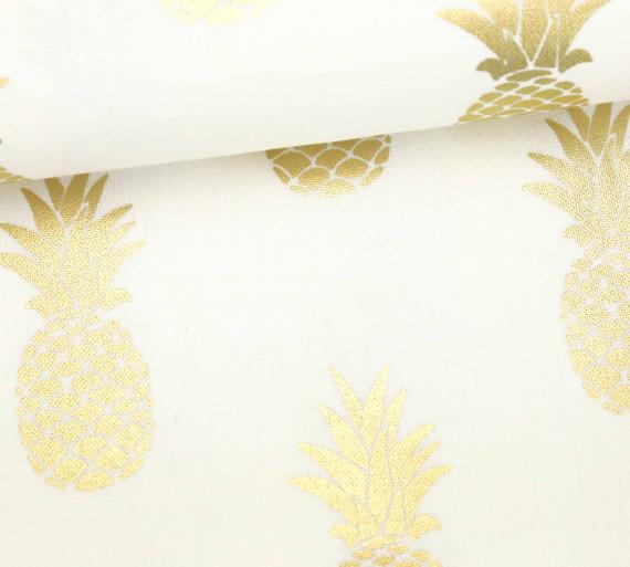 dekostoff feste baumwolle gl nzend ananas. Black Bedroom Furniture Sets. Home Design Ideas