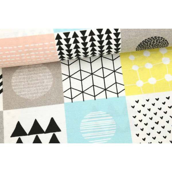 dekostoff feste baumwolle gemusterte quadrate kreise. Black Bedroom Furniture Sets. Home Design Ideas