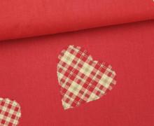 Dekostoff - Feste Baumwolle - Herzen - Hearts - Aufnäher-Optik - Rot