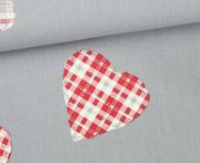 Dekostoff - Feste Baumwolle - Herzen - Hearts - Aufnäher-Optik - Blaugrau