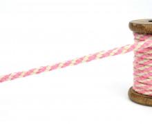1m Hoodieband - Baumwollkordel - 7mm - Rosa/Naturweiß
