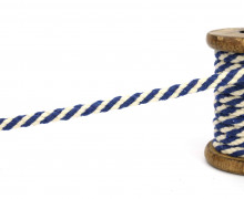 1m Hoodieband - Baumwollkordel - 7mm - Blau/Naturweiß