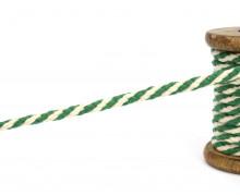 1m Hoodieband - Baumwollkordel - 7mm - Grün/Naturweiß