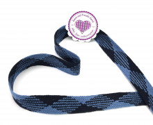 1m flache Kordel - 20mm - Hoodieband - Kapuzenband - Schwarzblau/Jeansblau