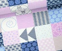 Jersey - Gemusterte Quadrate - Grafisch - Dreiecke - Punkte - Linien - Dunkelblau/Lavendel/Weiß