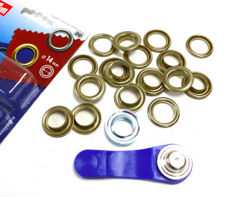 10 Ösen mit Scheiben - Eyelets - Bronze - 14mm