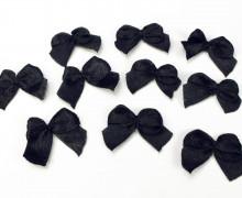 10 Satin Schleifen - klein - 2cm x 1,5cm - Schwarz