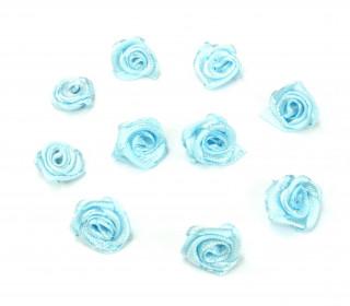10 Satin Rosen - Röschen - 12mm - Blau