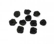 10 Satin Rosen - Röschen - 12mm - Schwarz