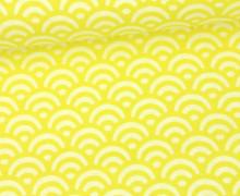 Stoff - Wellen - Bögen - Duo - Zitronengelb