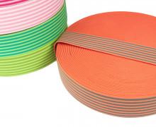 1 Meter Gummiband - Streifen - Schmal - Farbig - 40mm - Orange/Grau