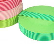 1 Meter Gummiband - Streifen - Schmal - Farbig - 40mm - Hellgrün/Grün