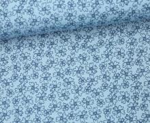 Stoff - Blüten - Blümchen - Flowers - Summertime - Pastellblau