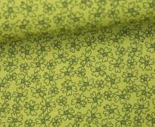 Stoff - Blüten - Blümchen - Flowers - Summertime - Olivgrün