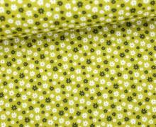 Stoff - Mini Blüten - Blumen - Flowers - Summertime - Gelbgrün