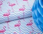 Sommersweat - Chevron Flamingos - weiß - blau - abby and me