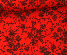 Stoff - Blumen - Ranken - Summertime - Rot