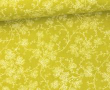 Stoff - Blumen - Ranken - Summertime - Gelbgrün