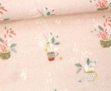 Musselin Lotta - Double Gauze - Blumentopf - Miriam - Pastellrosa