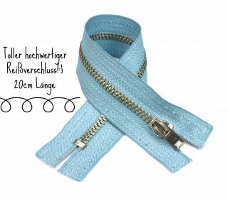 1x20cm Reißverschluss - Nicht Teilbar - Metall - Hochwertig - Opti - Hellblau (0259)