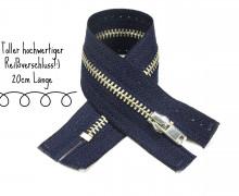 1x20cm Reißverschluss - Nicht Teilbar - Metall - Hochwertig - Opti - Dunkelblau (0210)