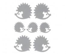 1 Bogen Bügelbilder - Reflektierend - Igel - 9cm x 12cm - Silbergrau
