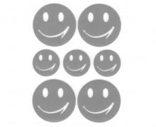 1 Bogen Bügelbilder - Reflektierend - Smileys - 9cm x 12cm - Silbergrau