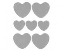 1 Bogen Bügelbilder - Reflektierend - Herzen - 9cm x 12cm - Silbergrau