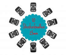 10 Steckschnallen - 25mm - Kunststoff - Schwarz