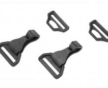 2 Karabinerhaken - 2-teilig - Eckig - Kunststoff - 40mm - Schwarz