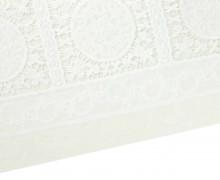 Stoff - Borte - Stickerei - Kreise - Quadrate - Cremeweiß