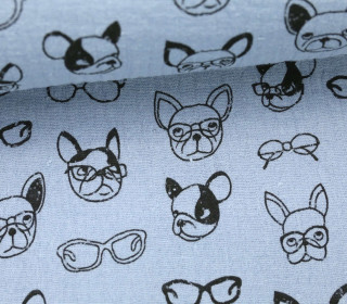 Musselin - Muslin - Dogs With Glases - Double Gauze - Pastellblau