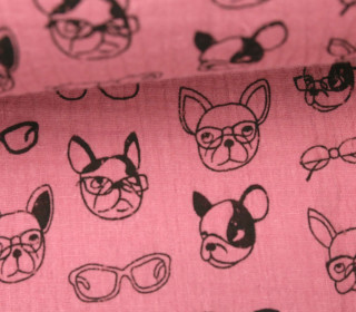 Musselin - Muslin - Dogs With Glases - Double Gauze - Pastellpink