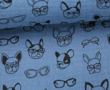 Musselin - Muslin - Dogs With Glases - Double Gauze - Taubenblau