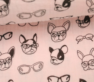 Musselin - Muslin - Dogs With Glases - Double Gauze - Rosa