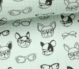 Musselin - Muslin - Dogs With Glases - Double Gauze - Mintgrün