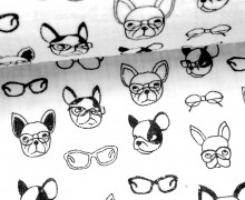 Musselin - Muslin - Dogs With Glases - Double Gauze - Weiß
