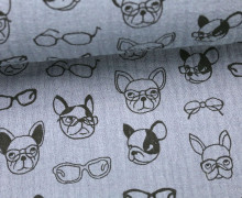 Musselin - Muslin - Dogs With Glases - Double Gauze - Blaugrau
