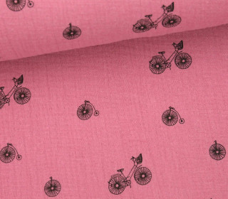 Musselin - Muslin - I Want to Ride My Bike - Vintage - Double Gauze - Pastellpink