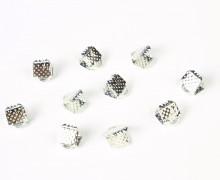 10 Verschlüsse - Endkappen - Klemmen - End Chaps - Vertiefung - 6mm - Silber
