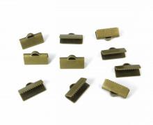 10 Verschlüsse - Endkappen - Klemmen - End Chaps - 13mm - Gold