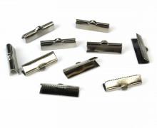 10 Verschlüsse - Endkappen - Klemmen - End Chaps - 20mm - Anthrazit