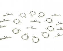 10 Paar Verschlüsse für Armbänder oder Ketten - Knebel - Verzierung - Streifen - Silber Hell