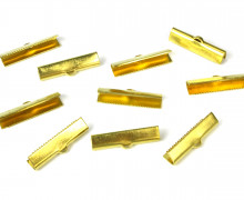 10 Verschlüsse – Endkappen – Klemmen – End Chaps – 25mm – Gold
