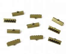 10 Verschlüsse - Endkappen - Klemmen - End Chaps - 15mm - Messing