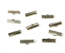 10 Verschlüsse - Endkappen - Klemmen - End Chaps - 15mm - Silber