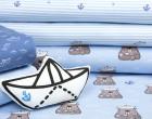 Jersey - Kombistoff - Seebär - Treeebird - Schiffchen - Streifen - hellblau/weiß