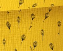 Musselin - Muslin - Blumen - Grafisch - Vintage - Double Gauze - Senfgelb