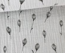Musselin - Muslin - Blumen - Grafisch - Vintage - Double Gauze - Hellgrau